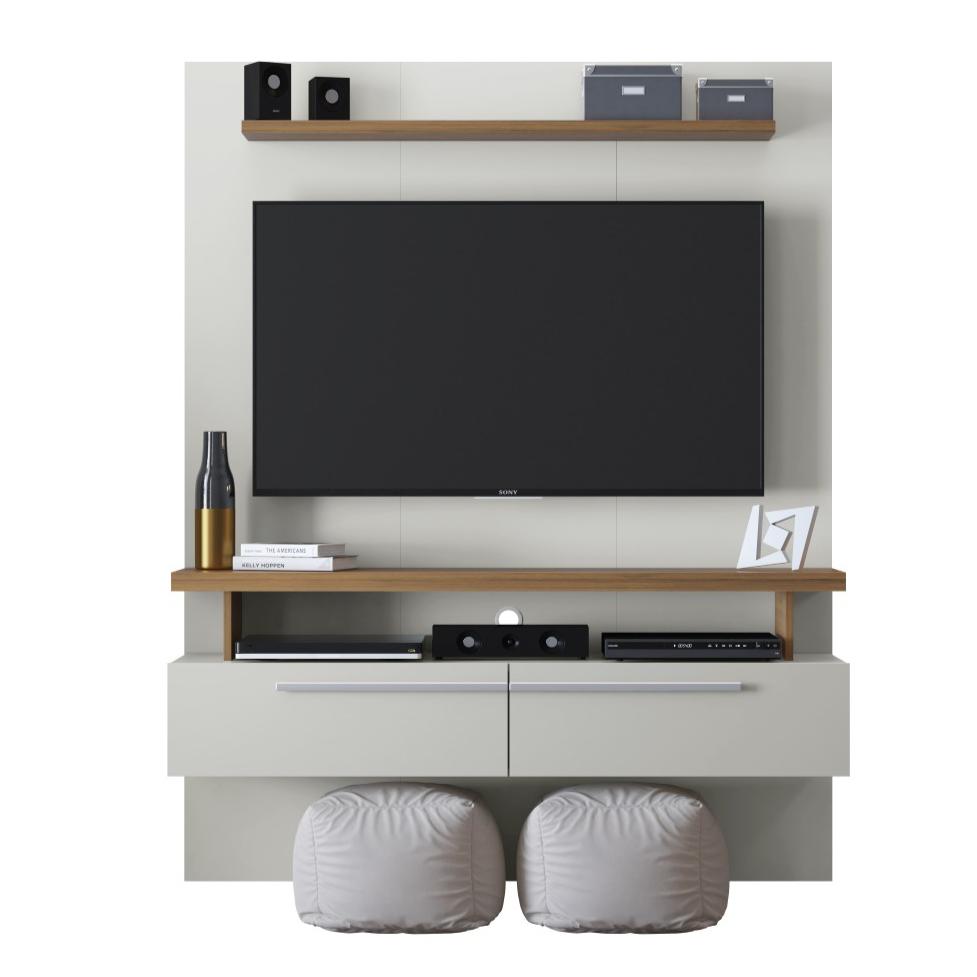 Painel para TV 134x170cm Caju Off White e Nogueira - Linea