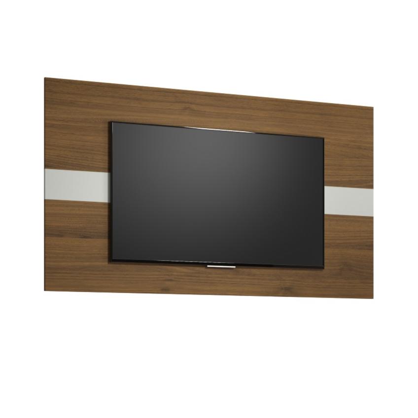 Painel para TV 160x90cm Franca Off White e Nogueira - Linea