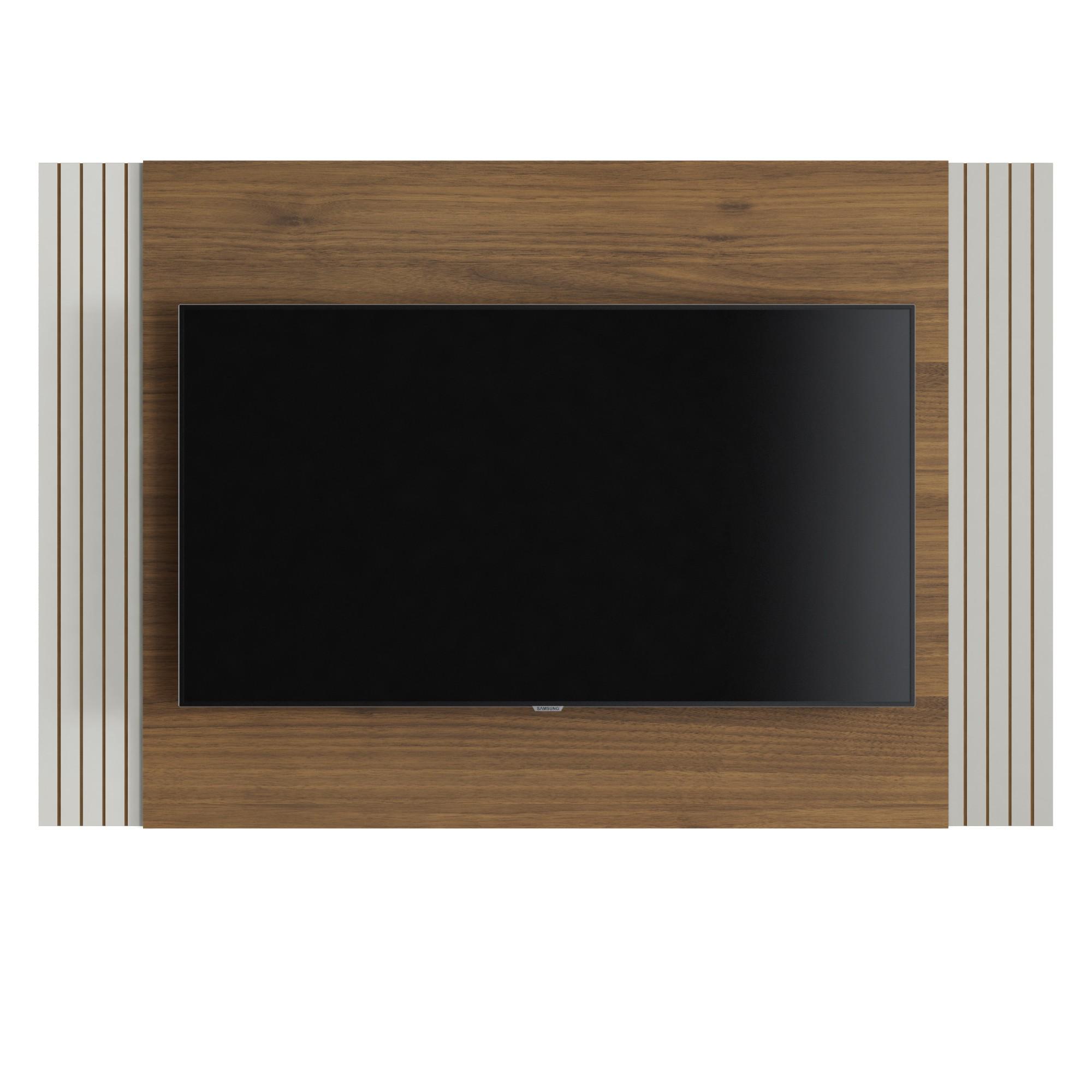 Painel para TV Furnas 136x90cm Off White e Nogueira - Linea