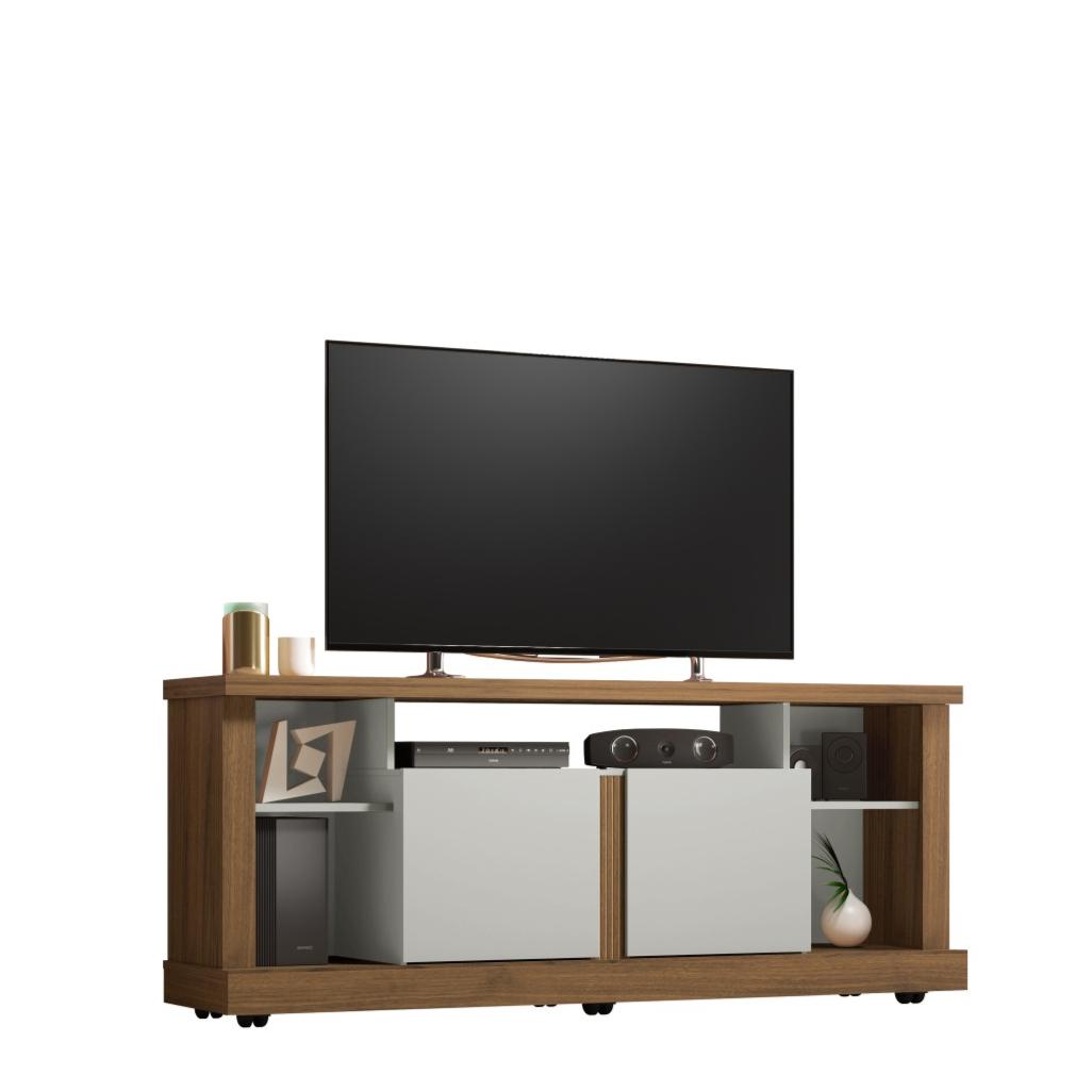 Rack 160cm Tv e Som MDP Jeri Off White e Nogueira - Linea
