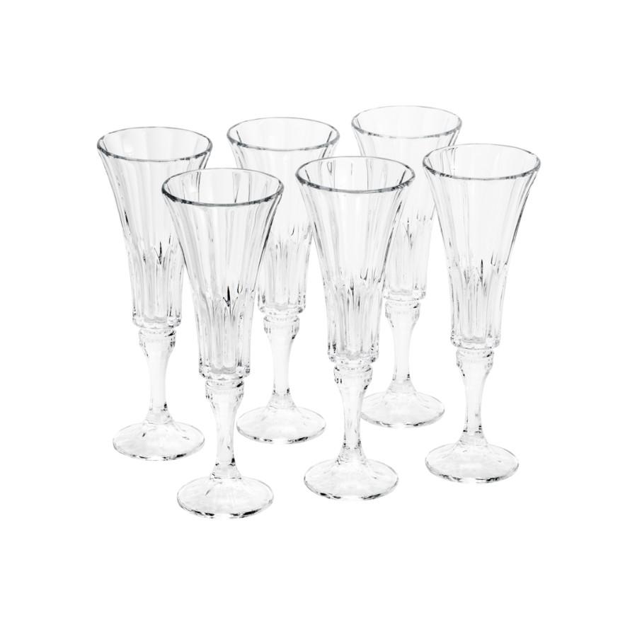 Jogo de Tacas para Champanhe de Cristal 6 Pecas 180ml Bohemia Transparente - Rojemac