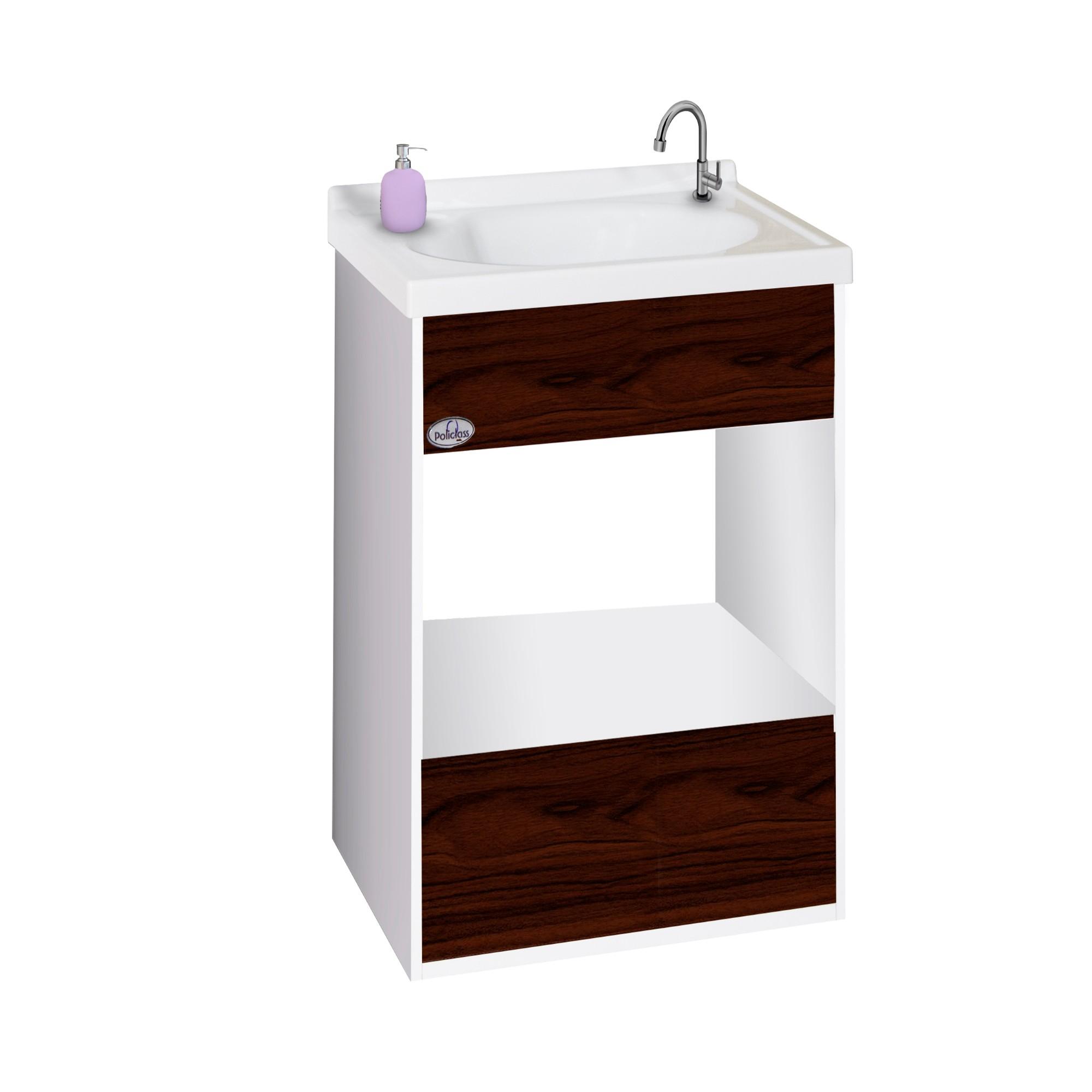 Gabinete para Banheiro 56x385cm Nogueira Pop 114010428 - Policlass