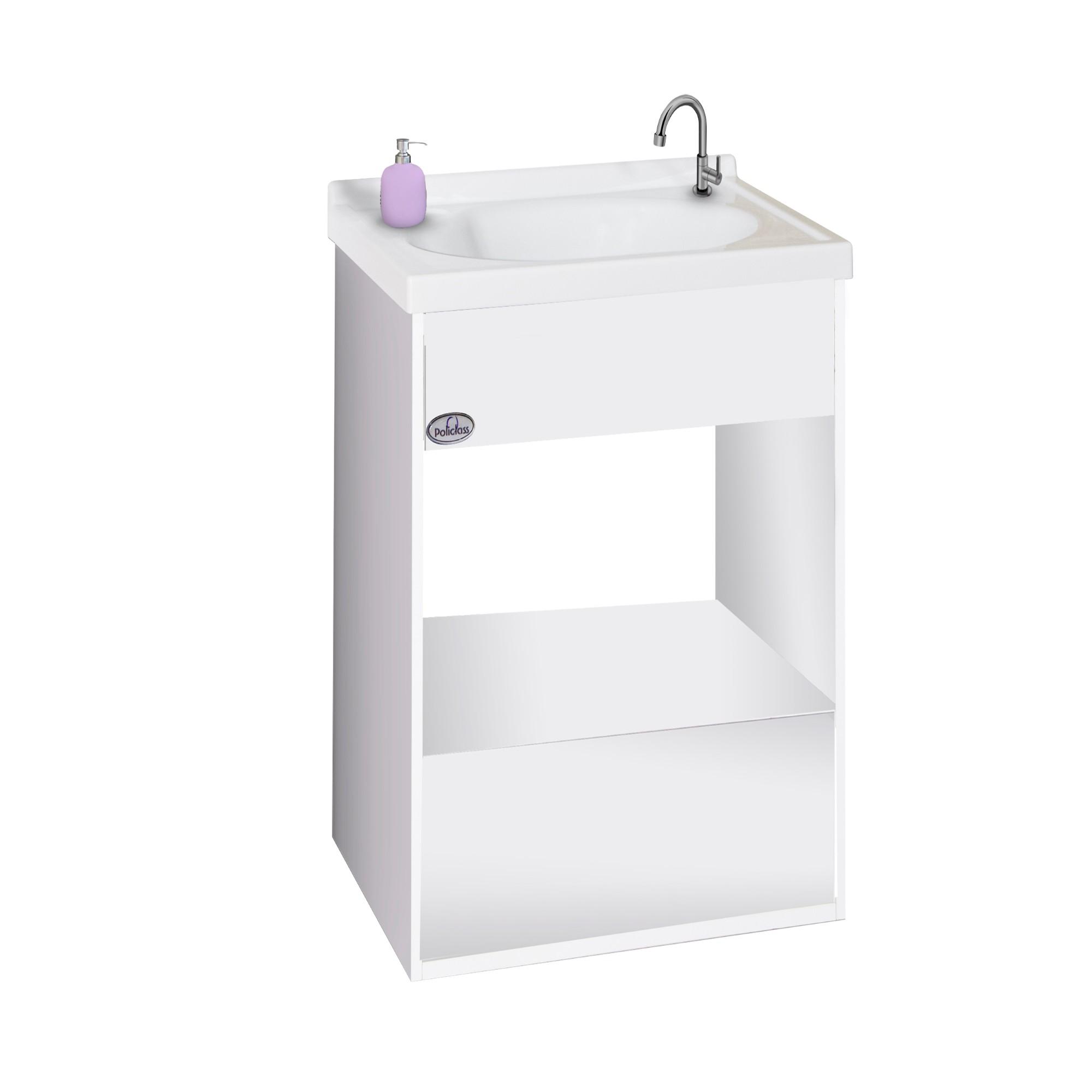 Gabinete para Banheiro 56x385cm Branco Pop 114010422 - Policlass