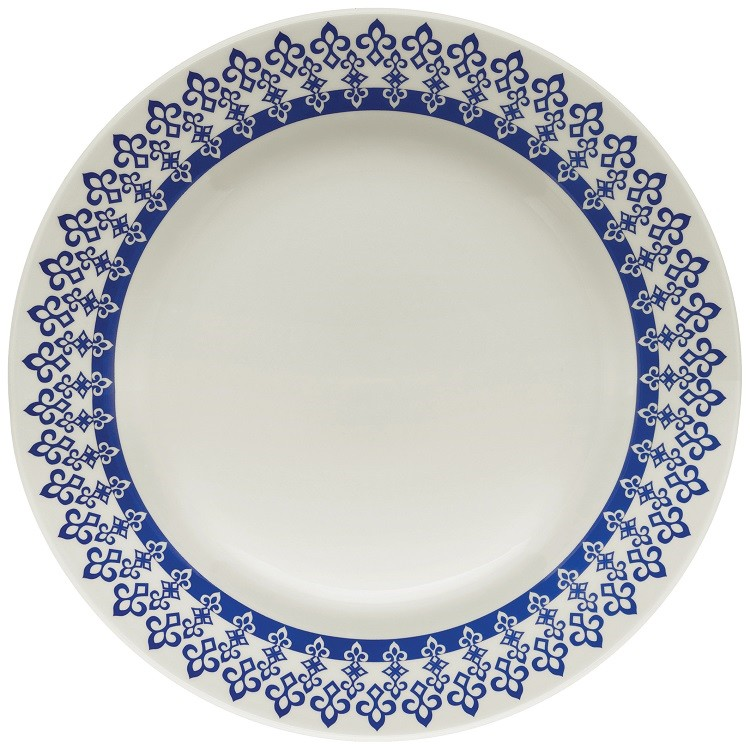 Prato Raso Redondo em Ceramica Grecia Azul 24cm - Biona