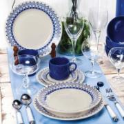 Prato Raso Redondo em Cerâmica Grécia Azul 24cm - Biona