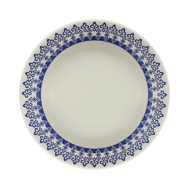 Prato Fundo Redondo em Ceramica Grecia Azul 22cm - Biona