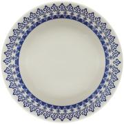 Prato Fundo Redondo em Cerâmica Grécia Azul 22cm - Biona