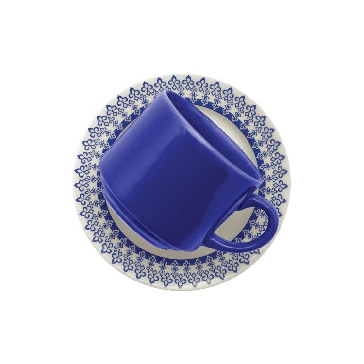 Xicara de Cha Grecia de Ceramica 200ml com Pires Azul - Biona