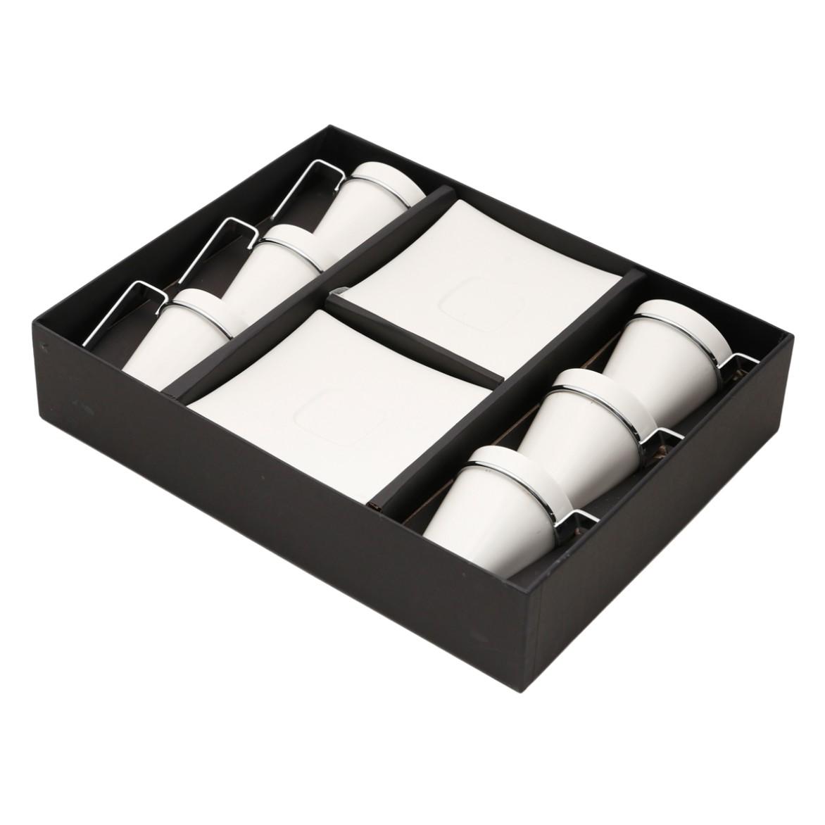 Jogo de Xicaras de Cafe com Pires Porcelana 6 Pecas 80ml 17069 - Rojemac