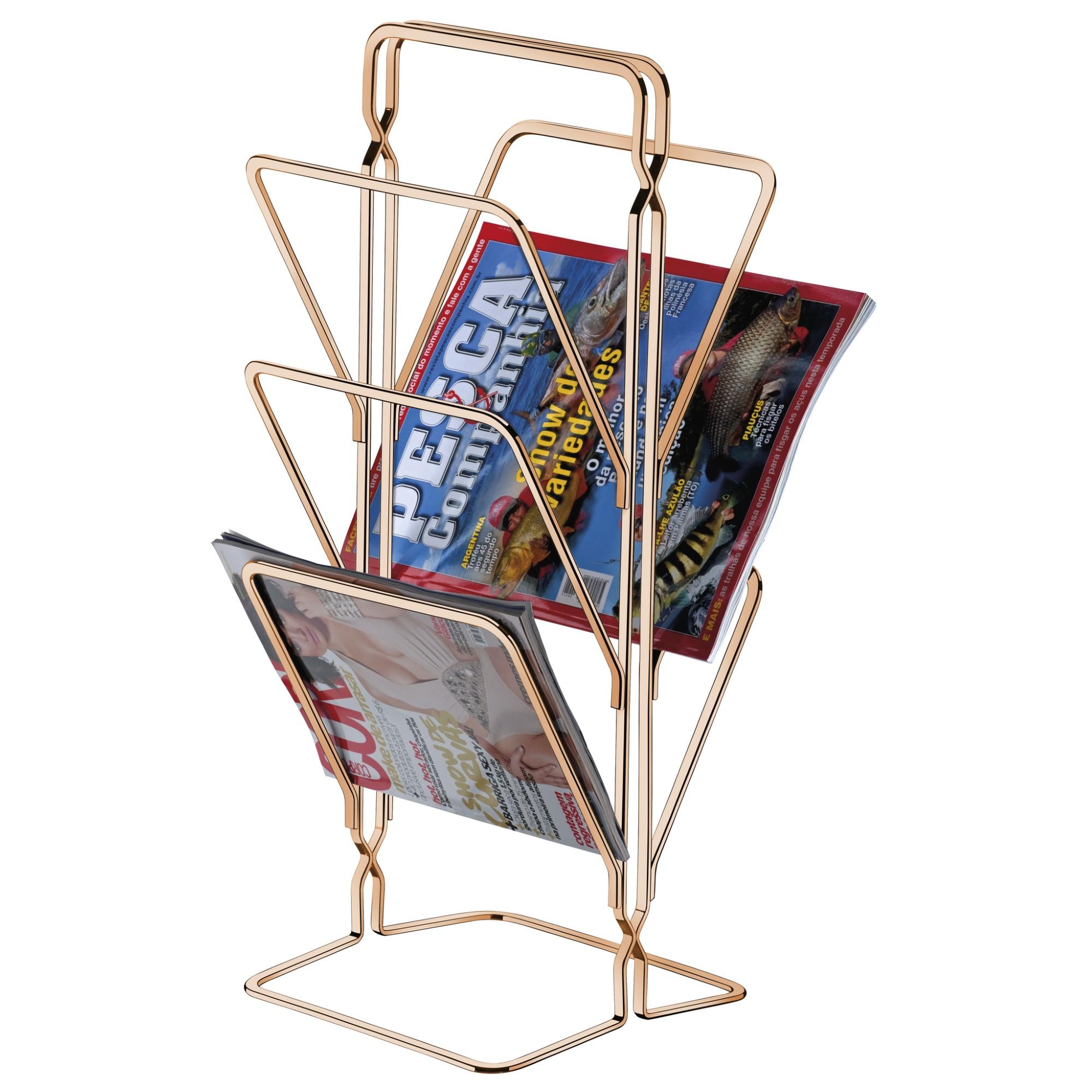 Porta-revista 20x50cm Cromado Rose Gold - Future