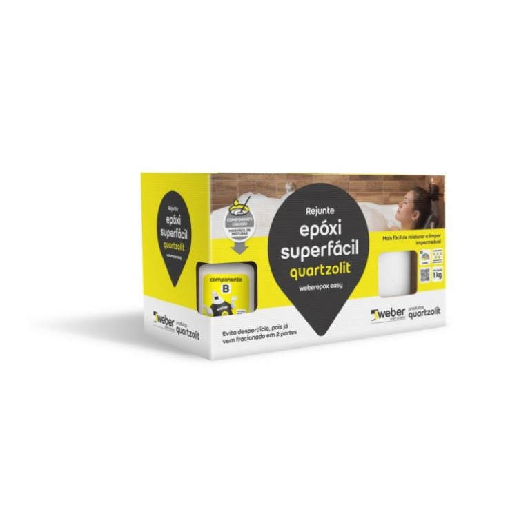 Rejunte Epoxi Super Facil 1 kg Cinza Platina - Quartzolit