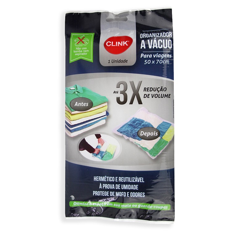 Saco para Roupa Plastico 50x70cm a Vacuo - Clink