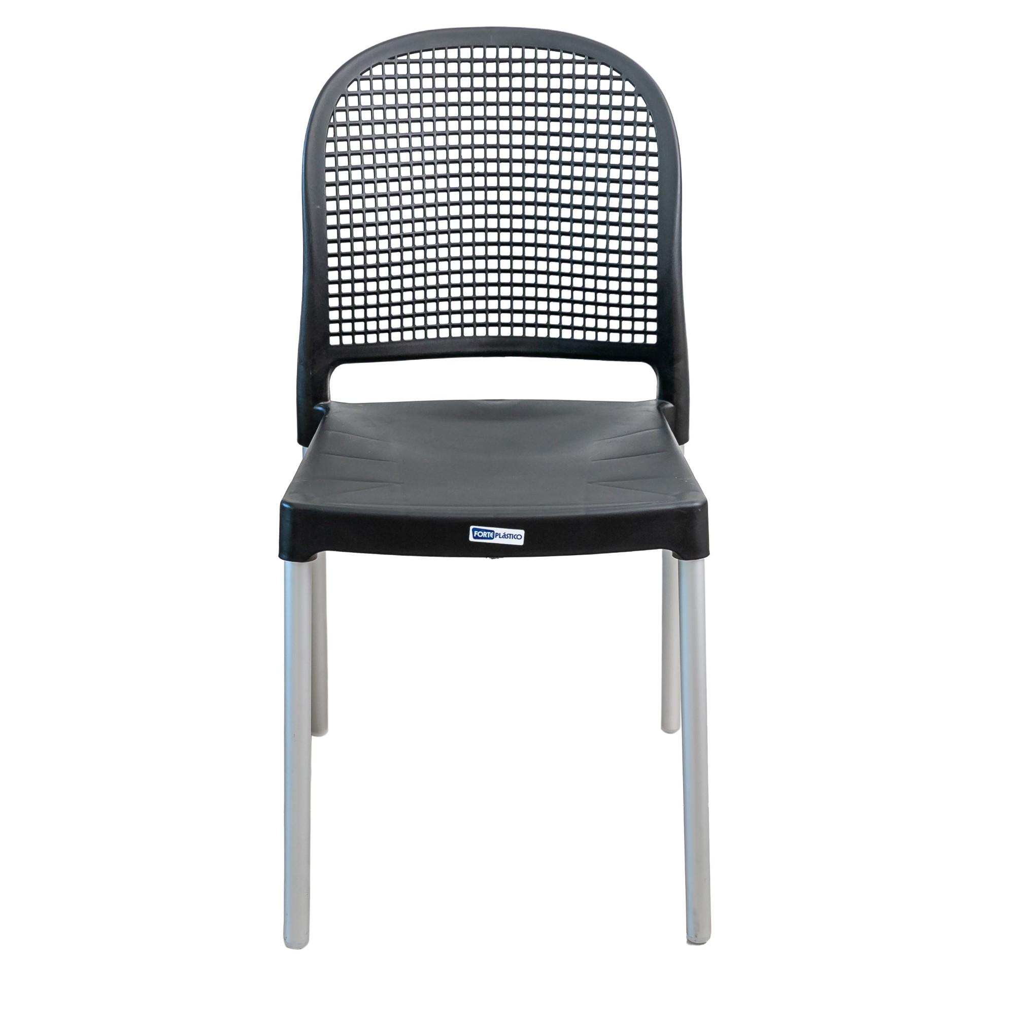 Cadeira Vintage Aluminio e Plastico Preta - Forte Plastico