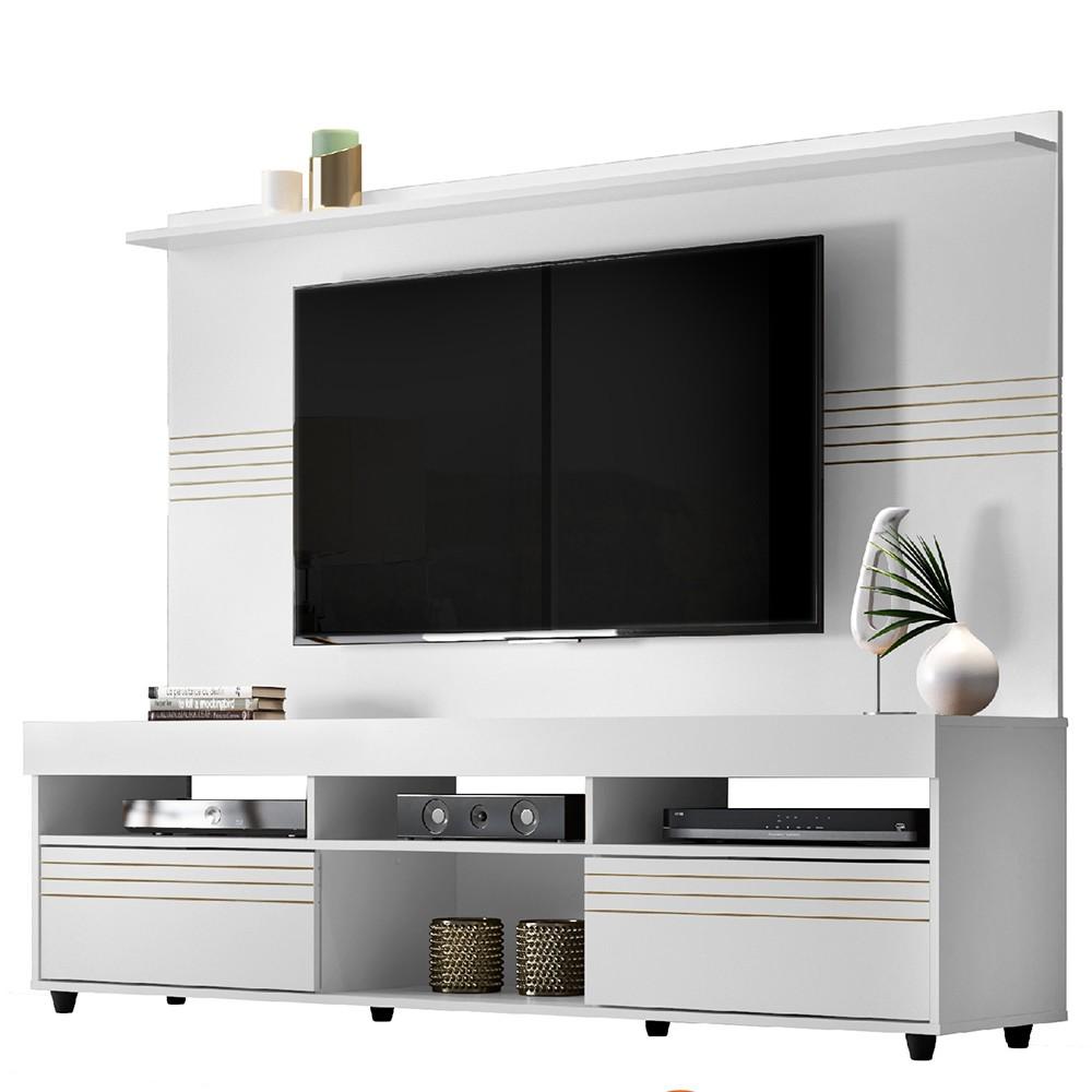 Conjunto Rack com Painel 182cm Tv e Painel MDF e MDP Samba Branco - Linea