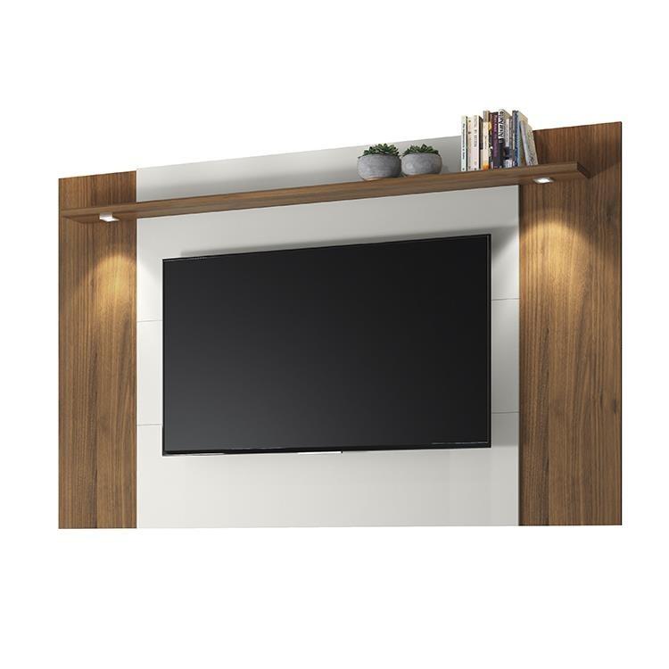 Painel para TV 180x124cm Fortaleza Off White e Nogueira - Linea