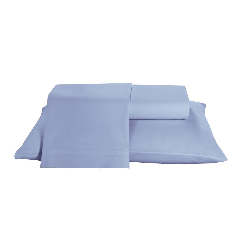 Jogo de Lencol Queen 100 Algodao 150 fios 4 Pecas Prata Azul - PRAT3JDQM6547 - Santista