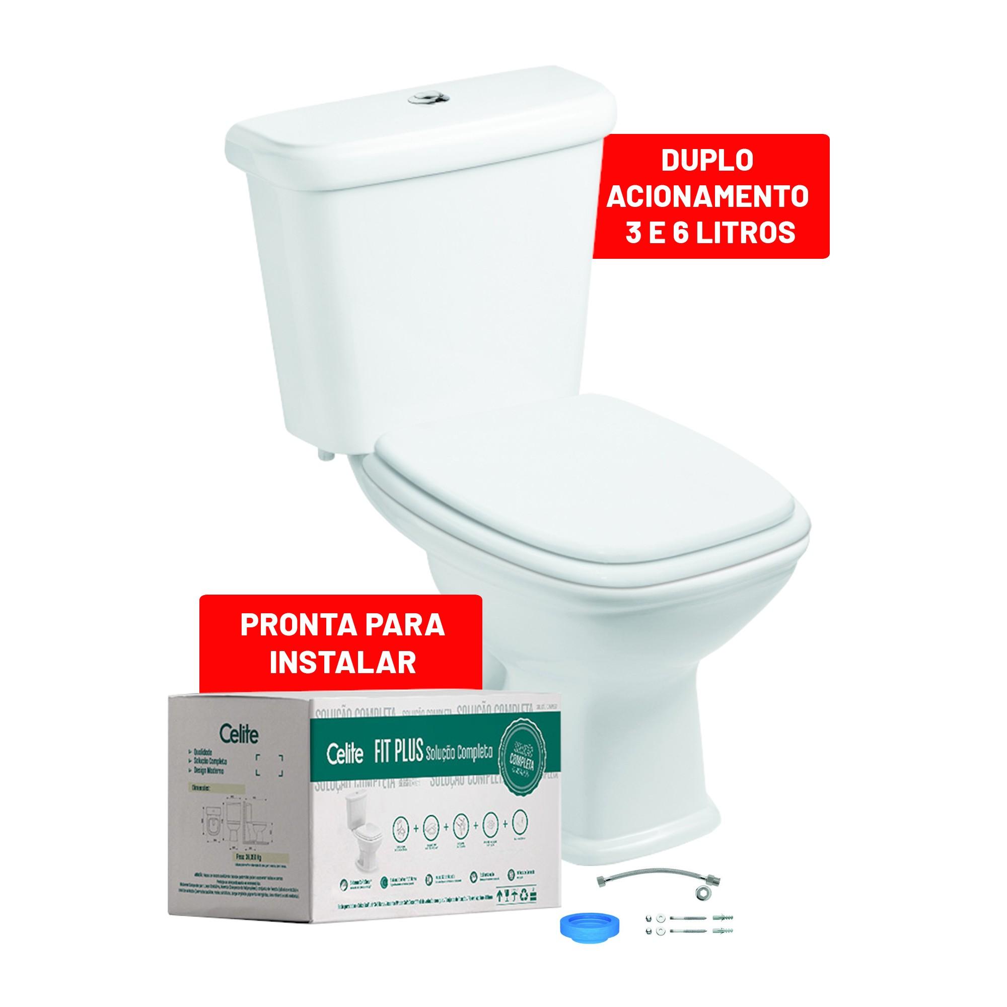 Kit Bacia Sanitaria com Caixa Acoplada Fit Plus 36 Litros - Celite