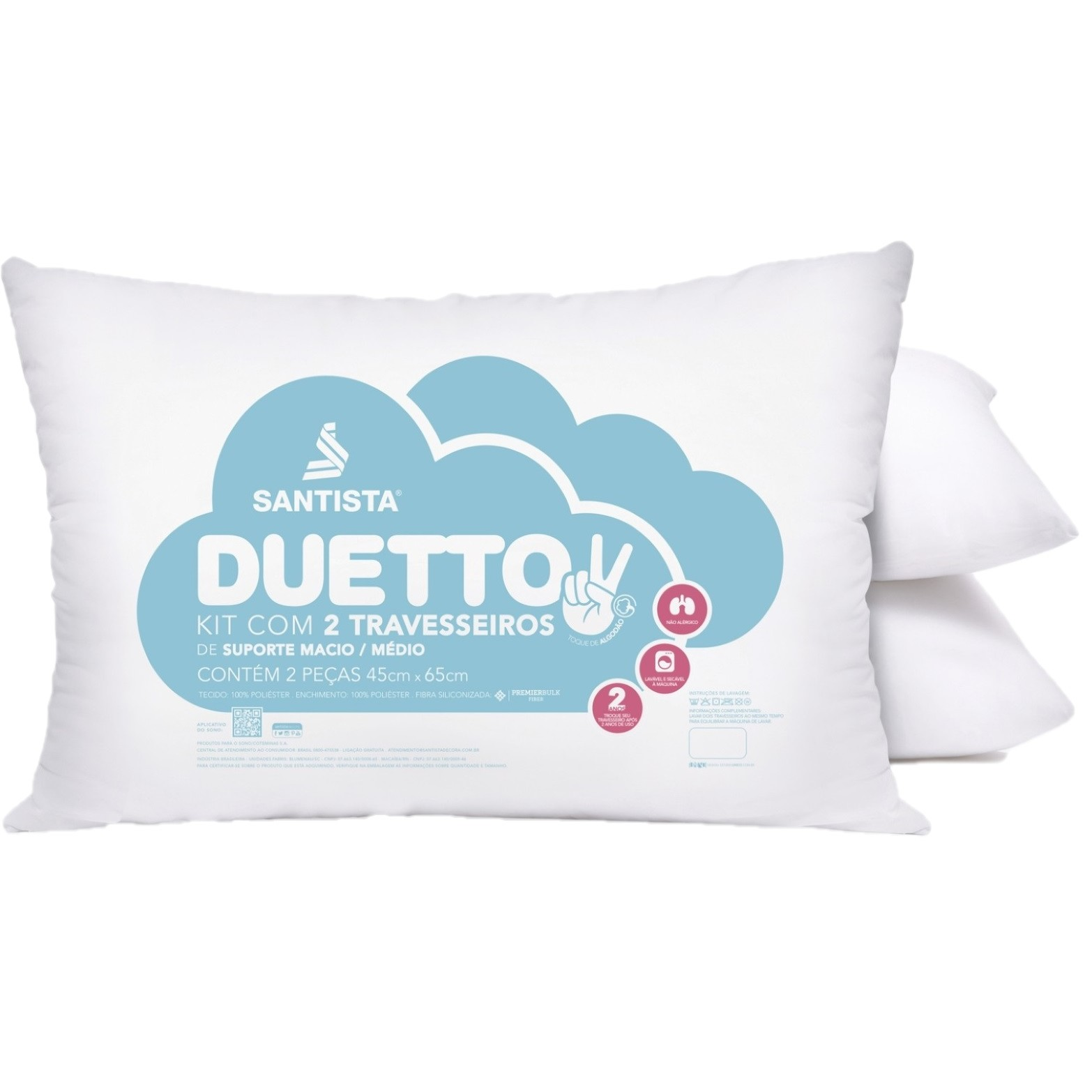 Travesseiro Santista com Fribra Siliconizada 45x65 cm 2 Pecas - Branco