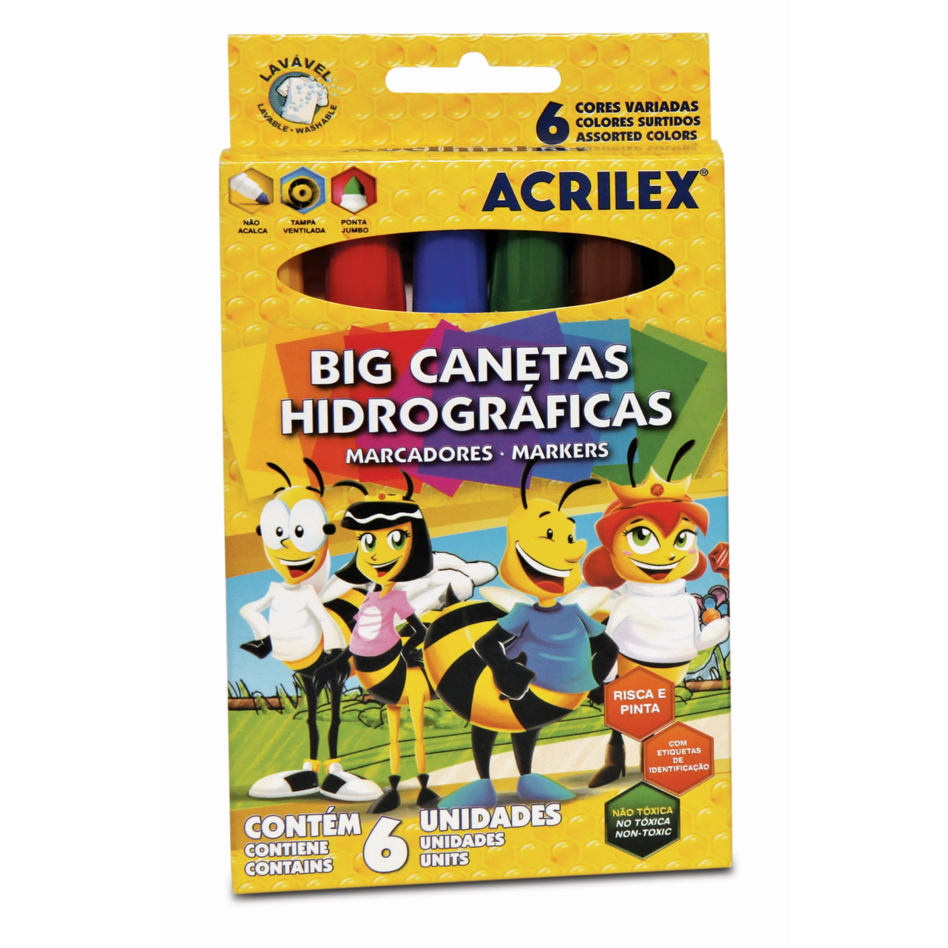 Big Canetas Hidrograficas 6 unidades - Acrilex