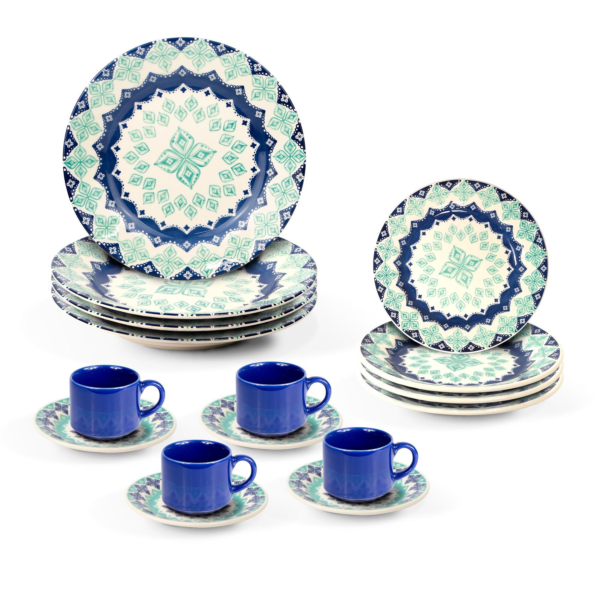 Aparelho de Jantar Donna Lola de Ceramica 16 Pecas Turquesa - Biona