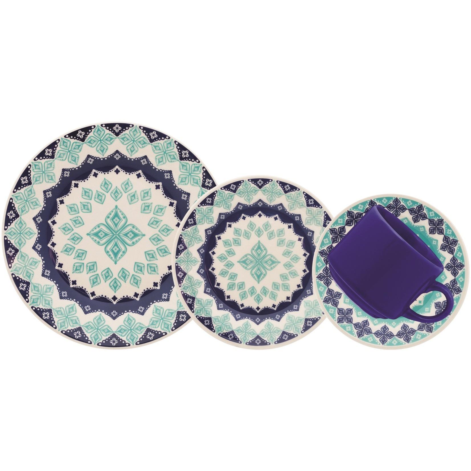 Aparelho de Jantar de Ceramica 16 Pecas Donna Azul - Biona