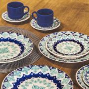 Aparelho de Jantar Donna Lola de Cerâmica 16 Peças Turquesa - Biona