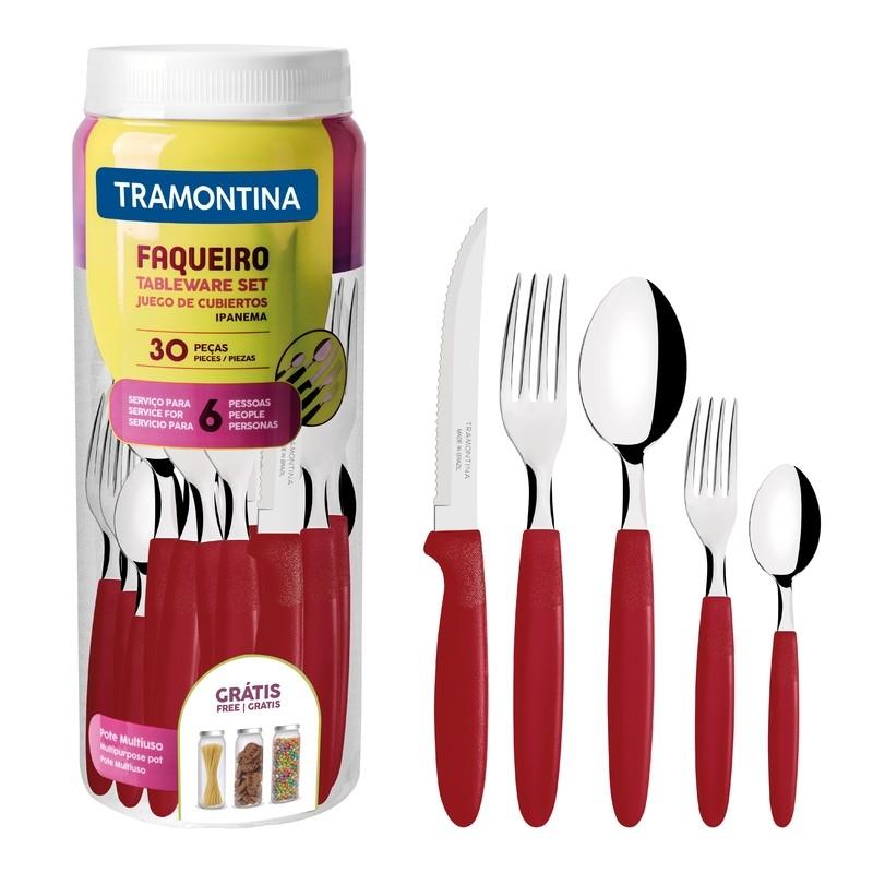 Faqueiro Tramontina Ipanema em Aco Inox 30 Pecas Vermelho - 23398788