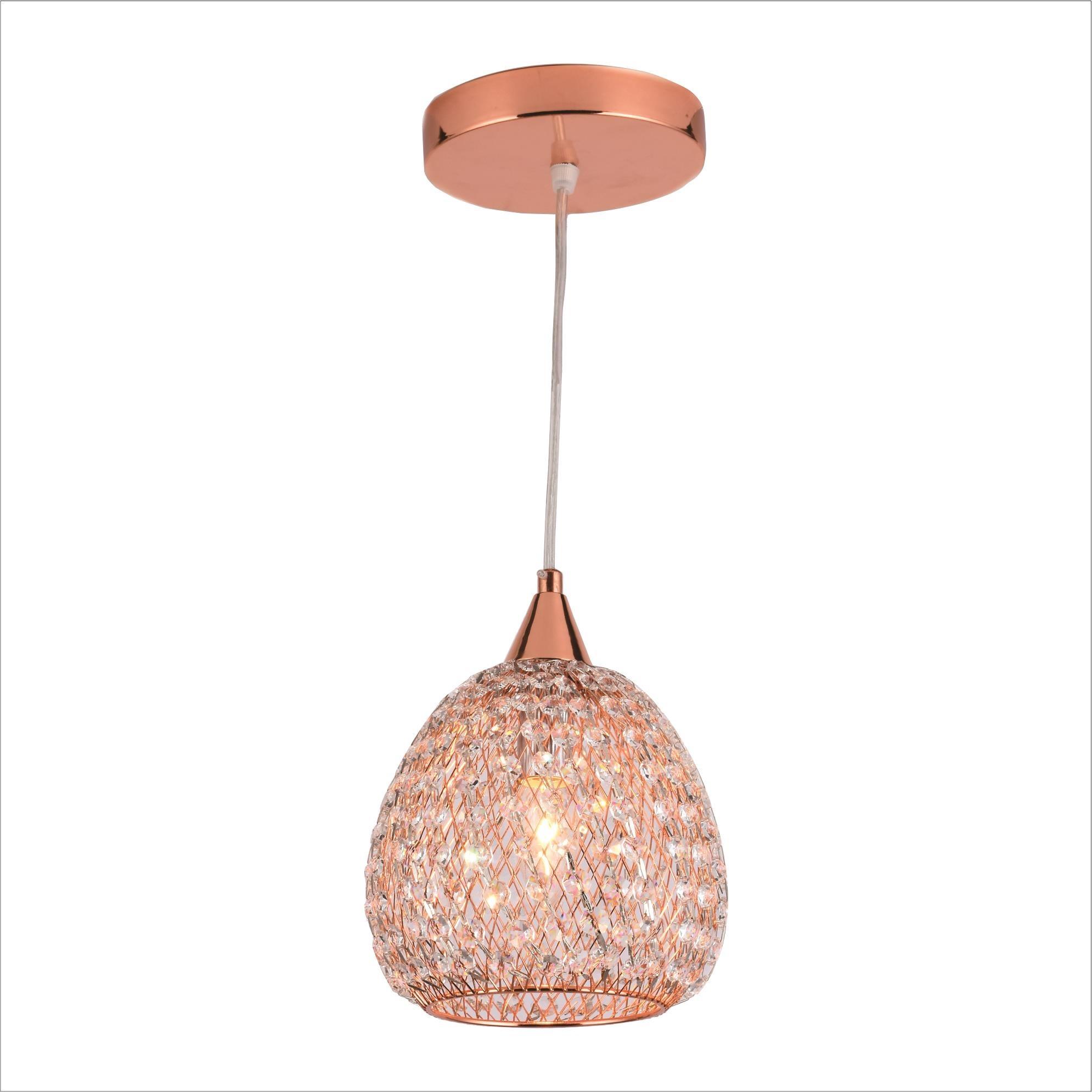 Lustre Metal e Cristal Evora 18cm Rose Gold - Ecoline Star