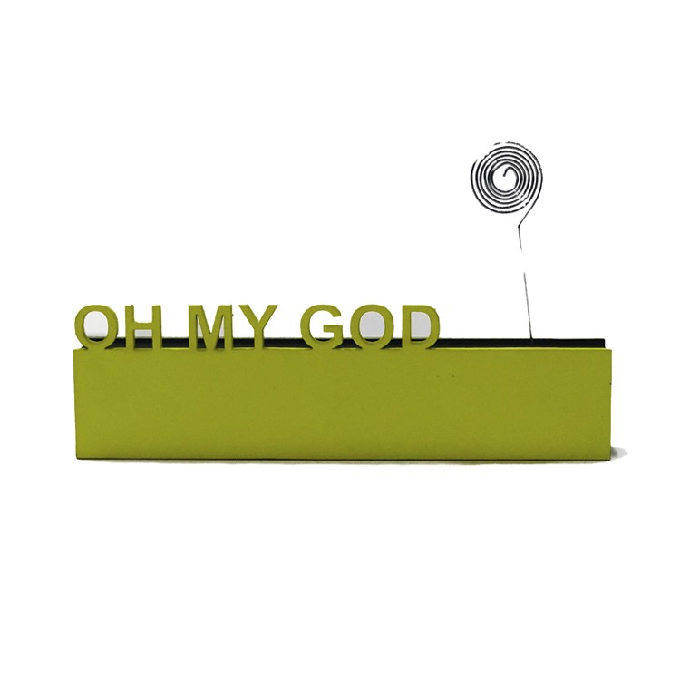 Enfeite Placa Retangular 6cm Oh My God Amarelo - Az Design