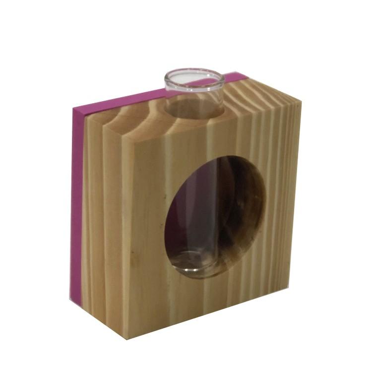 Vaso Decorativo Madeira e Vidro Quadrado Fundo Rosa - Az Design