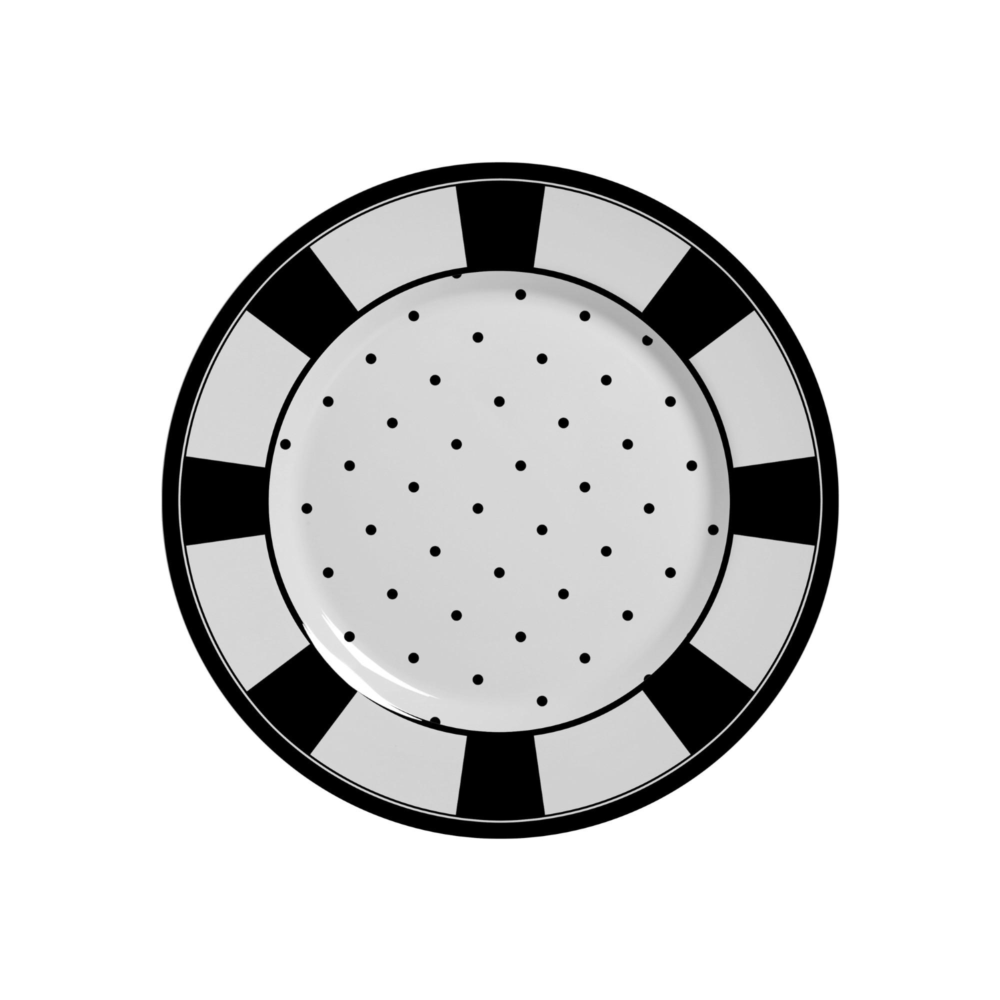 Prato de Sobremesa em Ceramica Petit Pois Preto 19cm - Alleanza