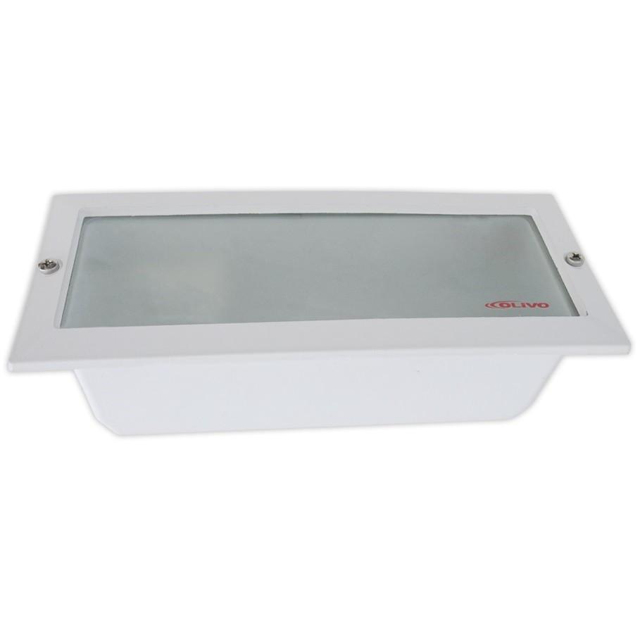 Luminaria Retangular de Embutir Aluminio E27 Branca - Olivo
