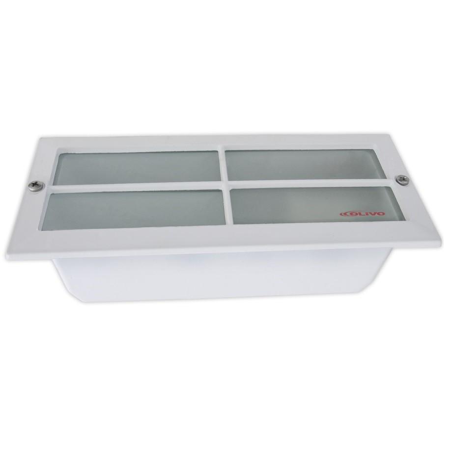 Luminaria Retangular de Embutir Aluminio e Policarbonato E27 Branca com Aletas Cruzadas - Olivo