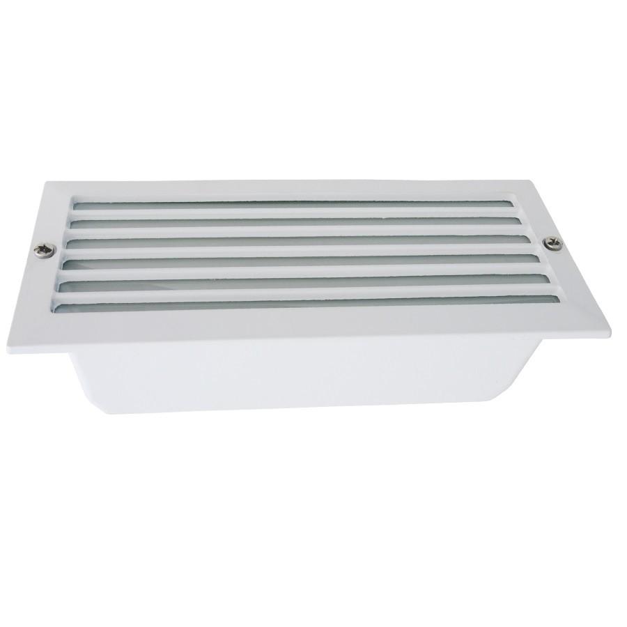 Luminaria Retangular de Embutir Aluminio E27 Branca com Aletas Retas - Olivo