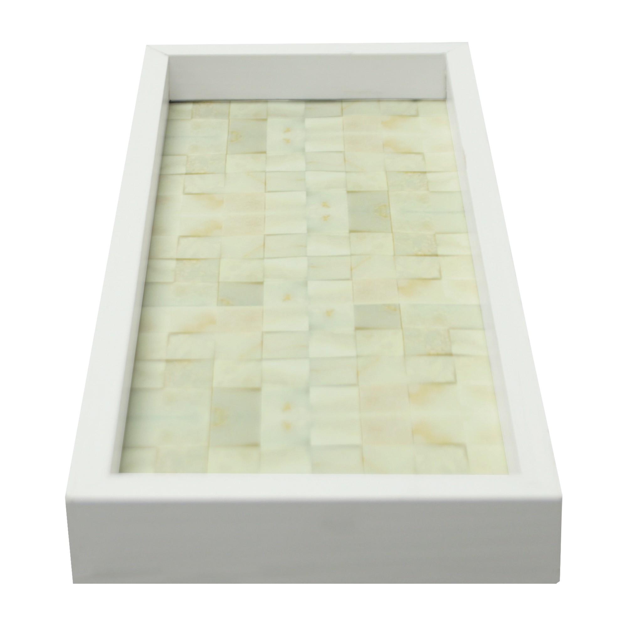 Bandeja Lavabo MDF e Vidro 15x30 cm Branca - Kapos