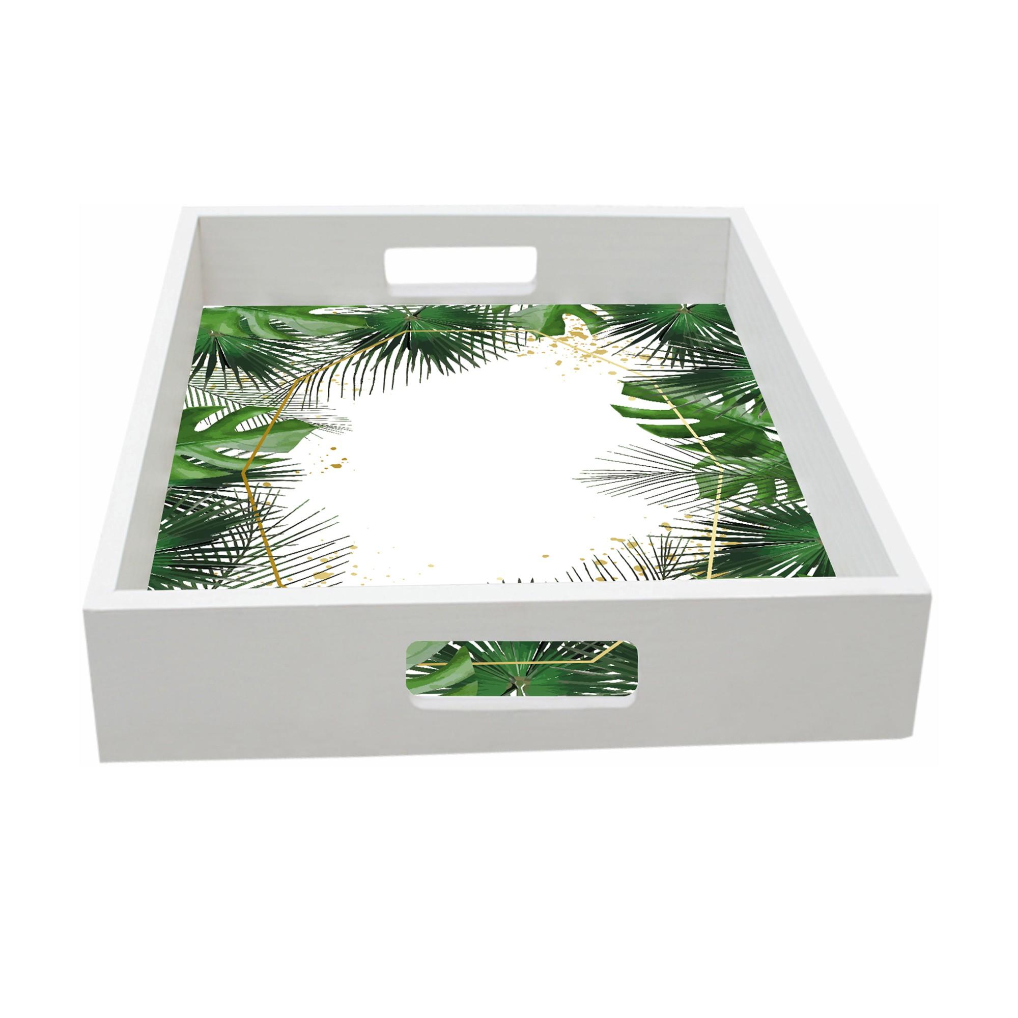 Bandeja Madeira e Vidro Tropical Retangular 32x22cm Branca - Kapos