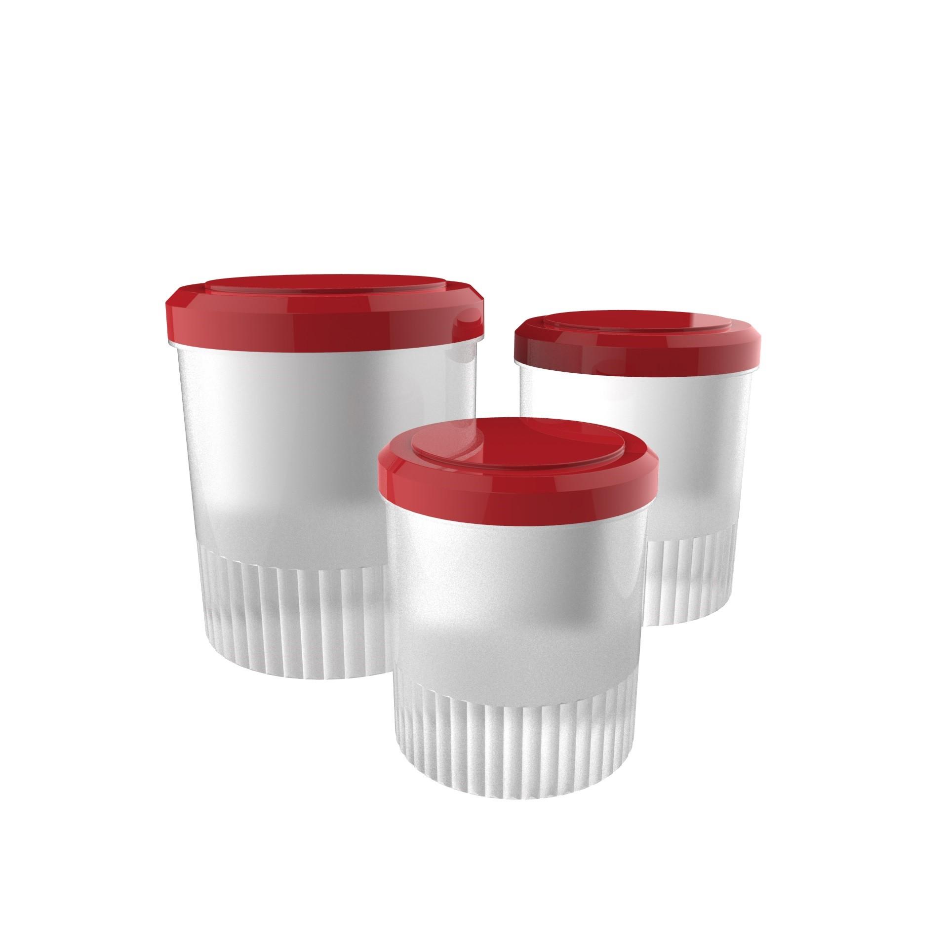 Jogo de Potes Redondo 3 Pecas Vermelho - Crippa