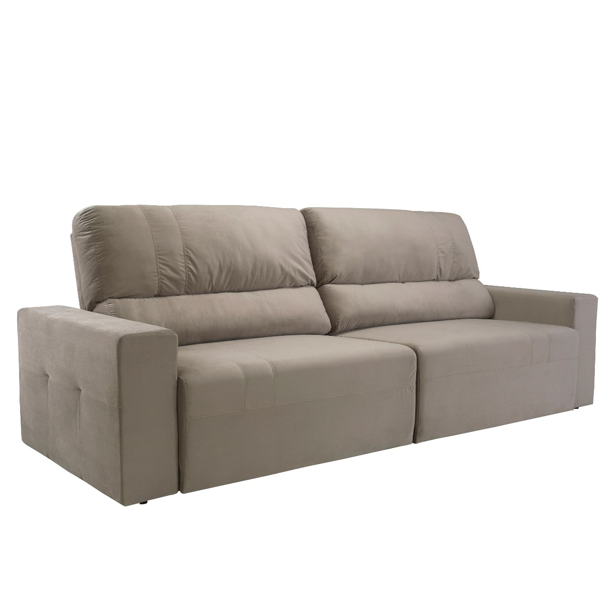 Sofa 4 Lugares Retratil Reclinavel Veludo Bege - Herval