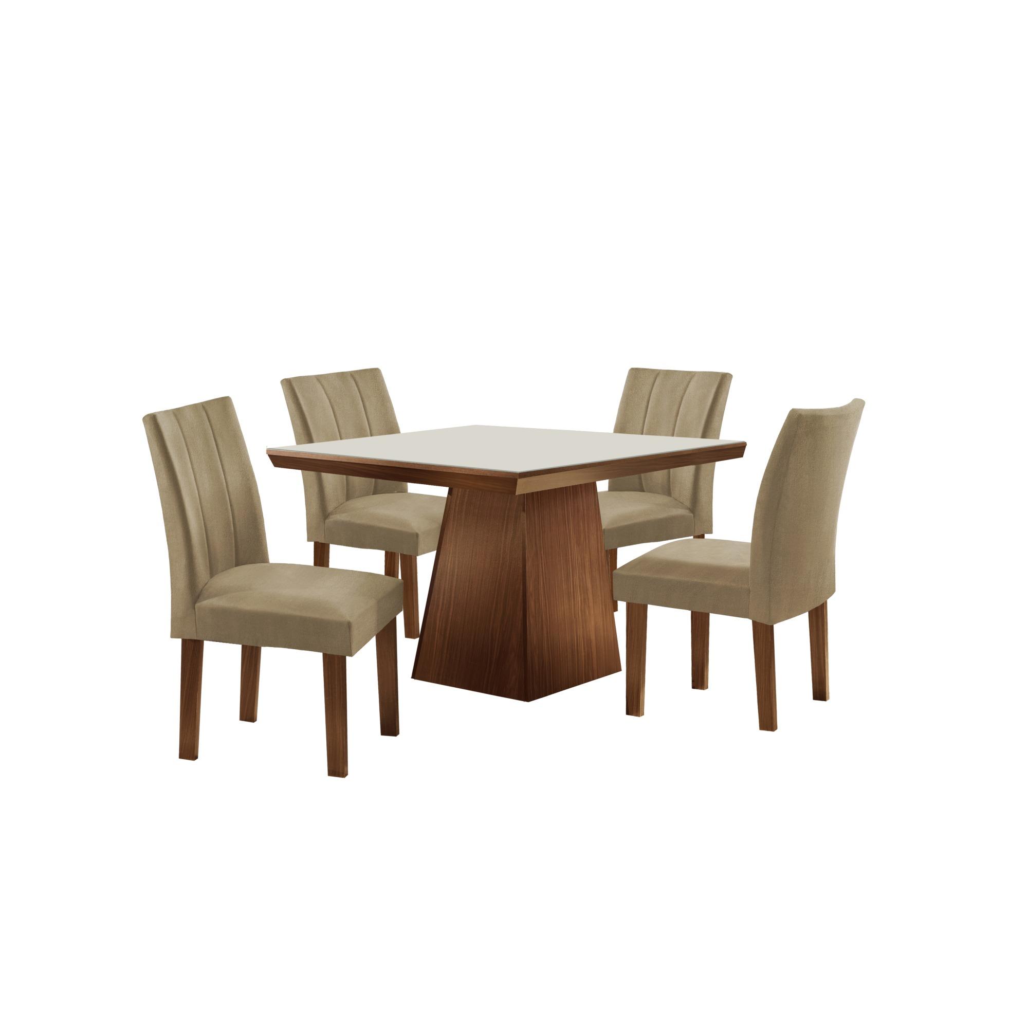 Conjunto de Mesa com 4 Cadeiras 90x90cm MDF Tampo de Vidro - LJ Moveis
