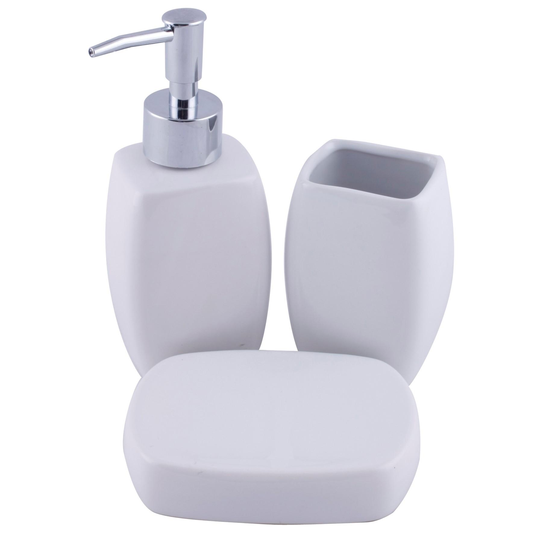 Jogo para Banheiro de Porcelana 3 Pecas Branco 13408 - Yangzi