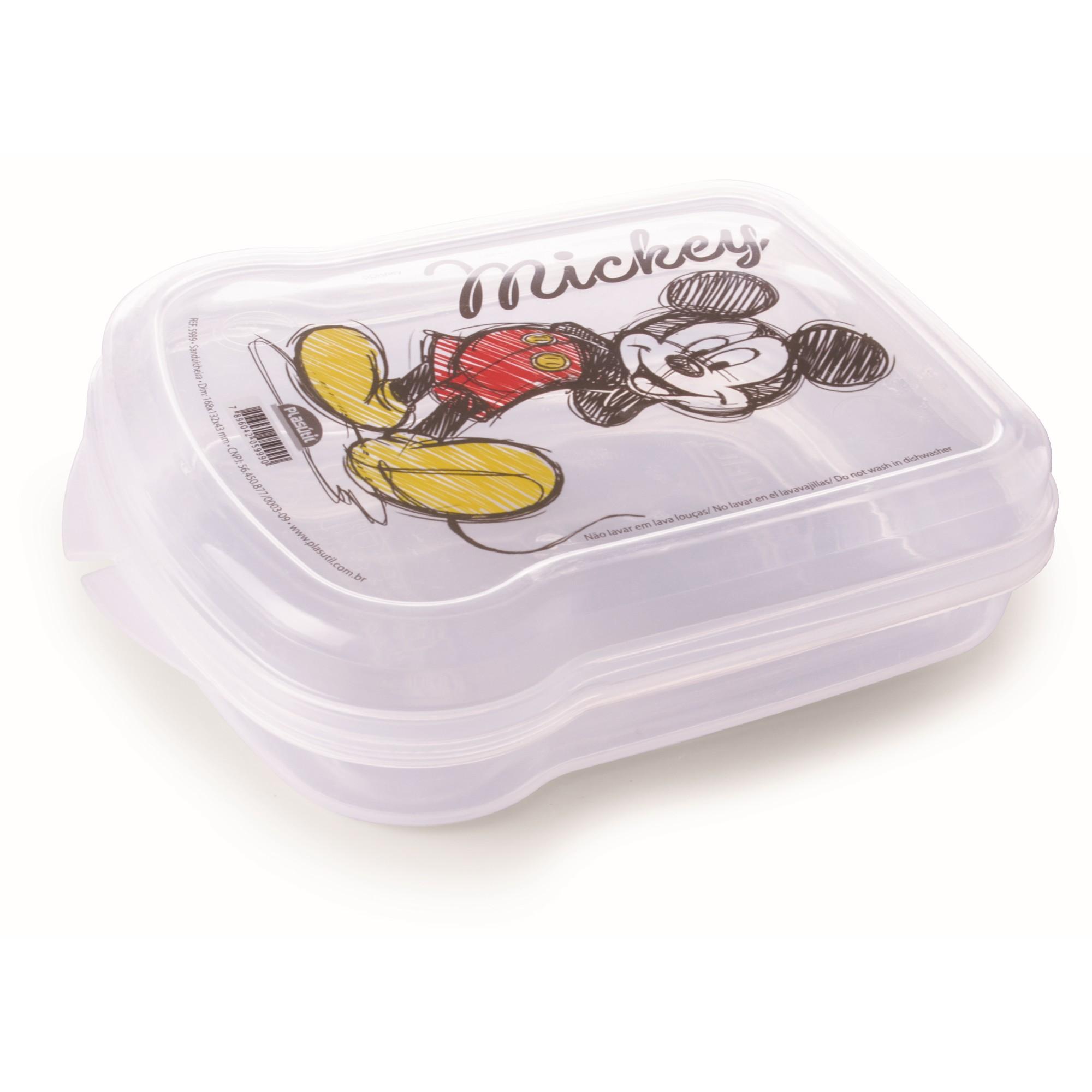 Pote Plastico Retangular 131x17cm Transparente Mickey - Plasutil