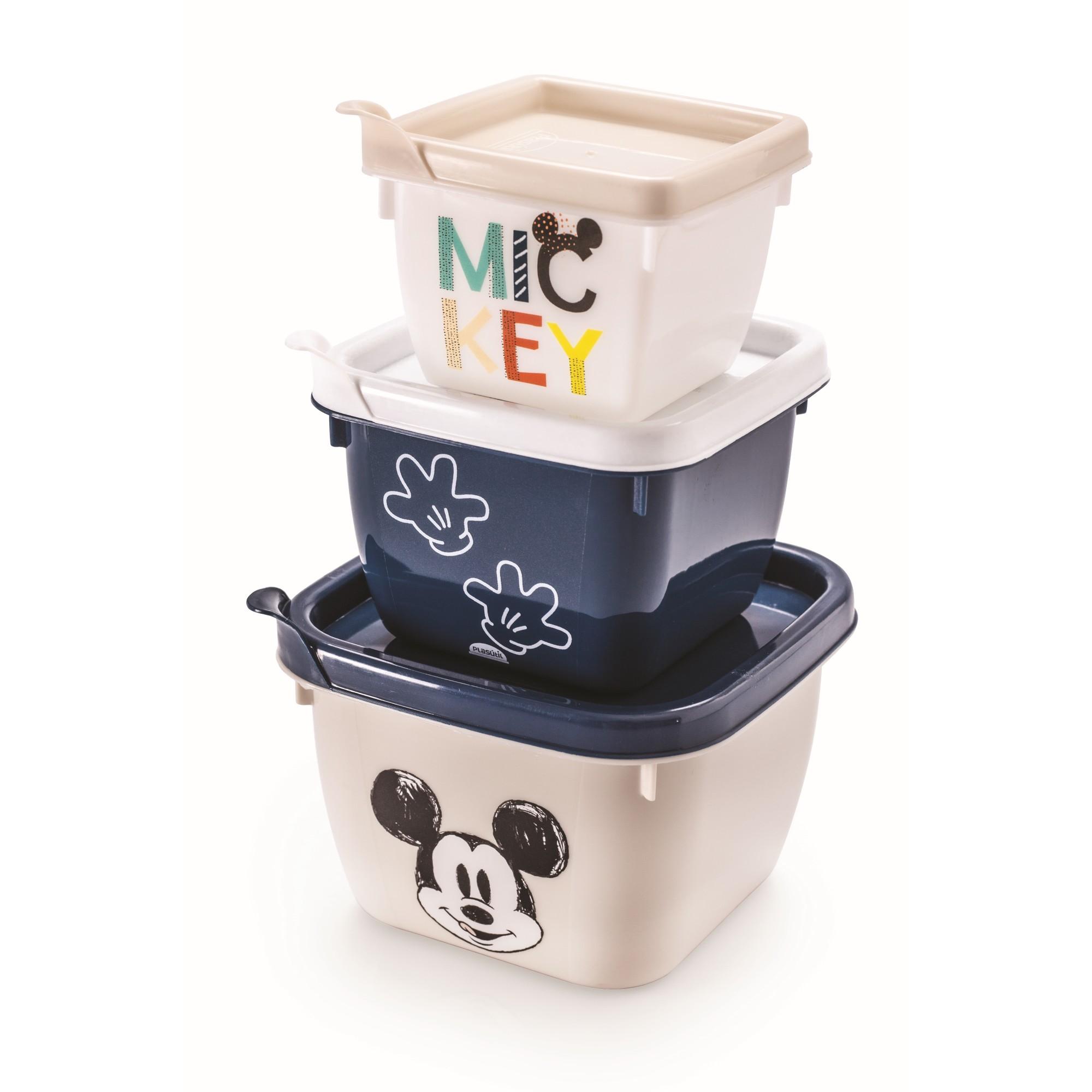 Jogo de Potes de Plastico 3 Pecas Mickey - Plasutil