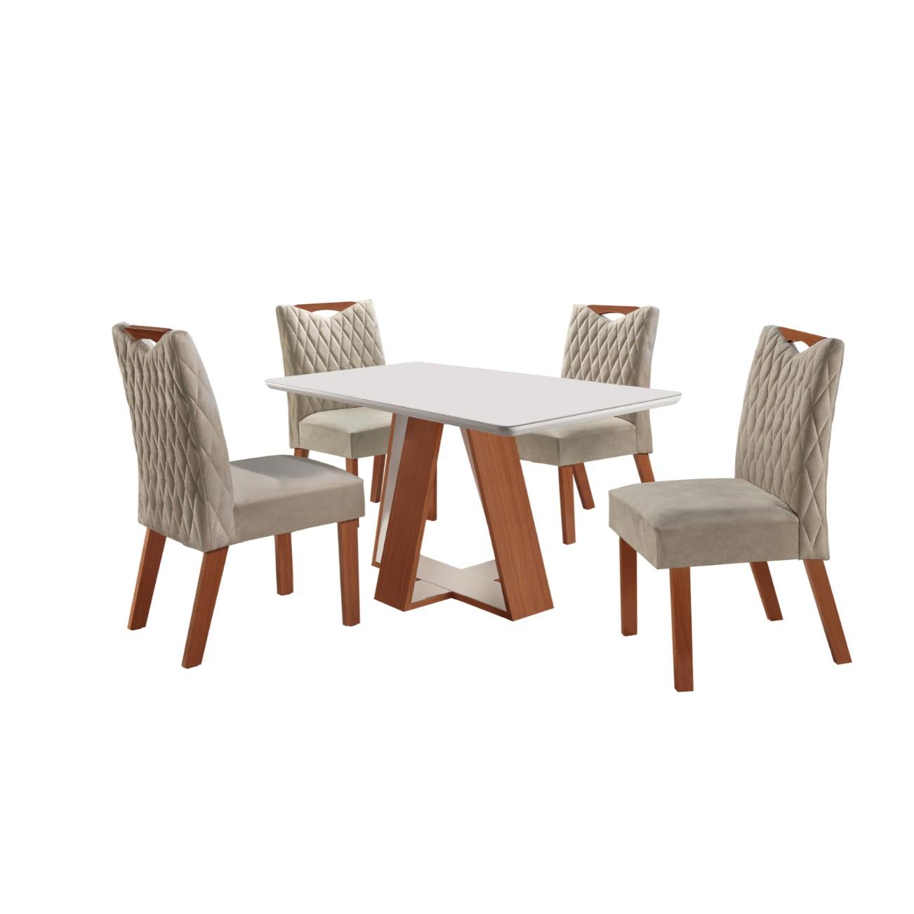 Conjunto de Mesa 135x90cm Grecia com 4 Cadeiras Castanho Premio e Off White - LJ Moveis