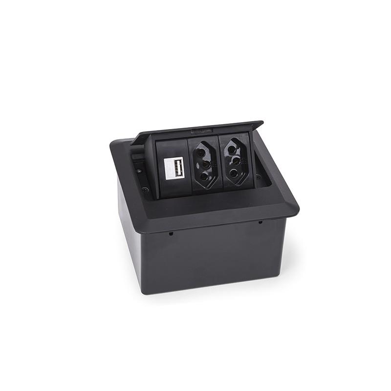 Caixa de Tomada para Mesa 2PT 1 Tomada USB - Dutotec
