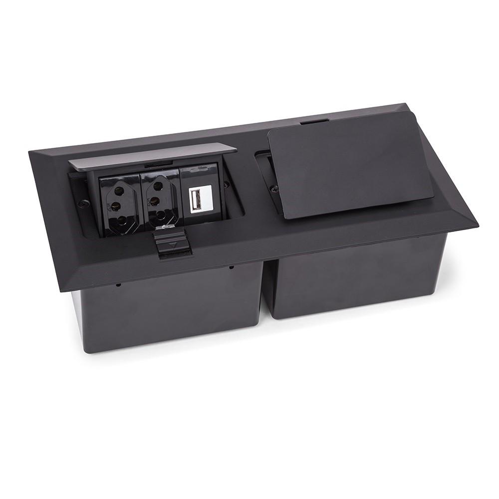 Caixa de Tomada para Mesa 2PT 2 Tomadas USB - Dutotec