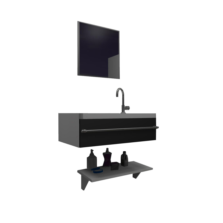 Gabinete para Banheiro 39x295cm Preto - Policlass