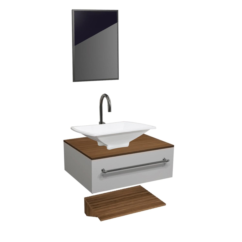 Gabinete para Banheiro 49x40cm Avant Branco e Nogueira - Policlass