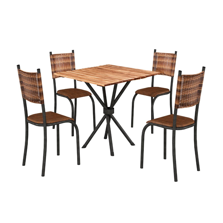 Conjunto de Mesa 75x75cm Valenca com 4 Cadeiras Marrom - Texeira