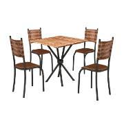 Conjunto de Mesa 75x75cm Valença com 4 Cadeiras Marrom - Texeira