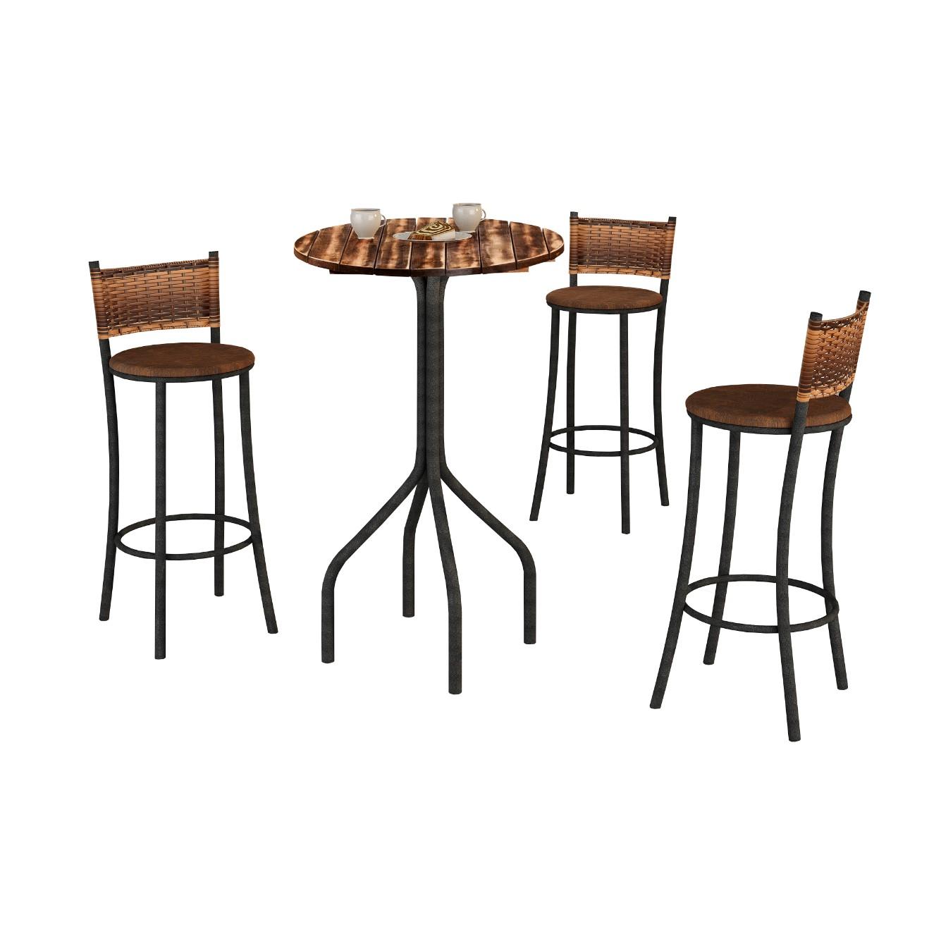 Conjunto de Mesa 60x60cm Parana com 3 Cadeiras Marrom - Texeira